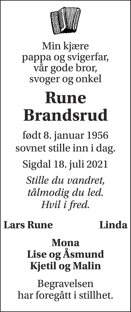 Rune Brandsrud Dødsannonse