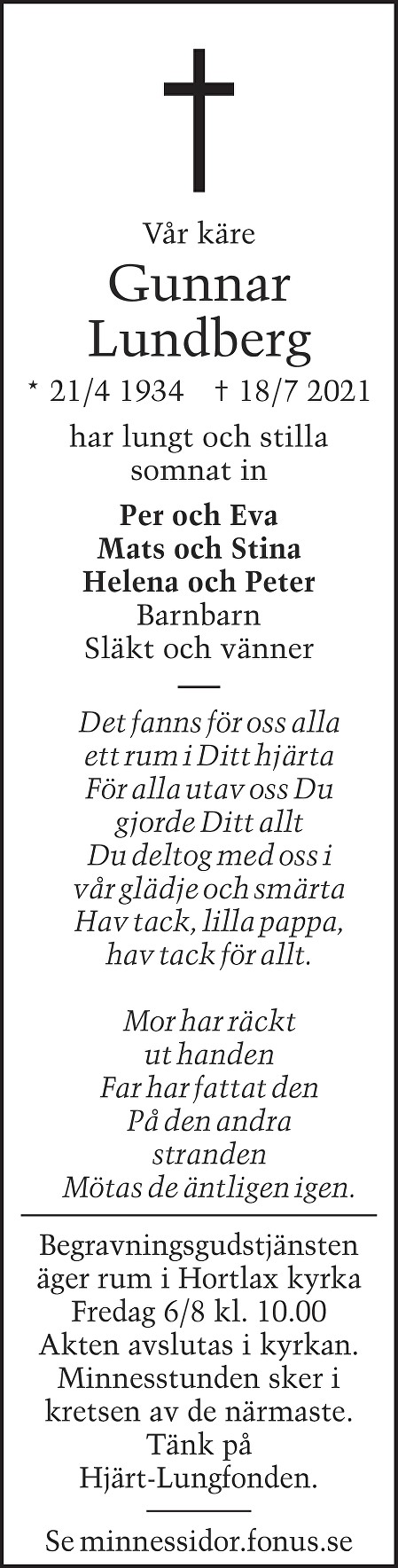 Bengt Gunnar Lundberg Death notice
