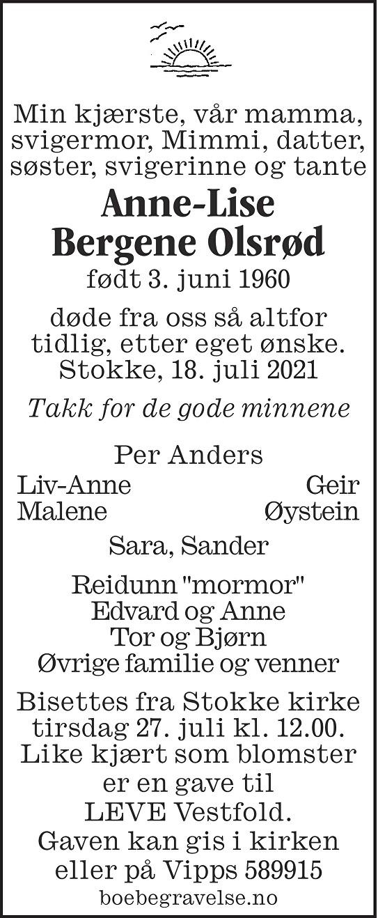 Anne-Lise Bergene Olsrød Dødsannonse
