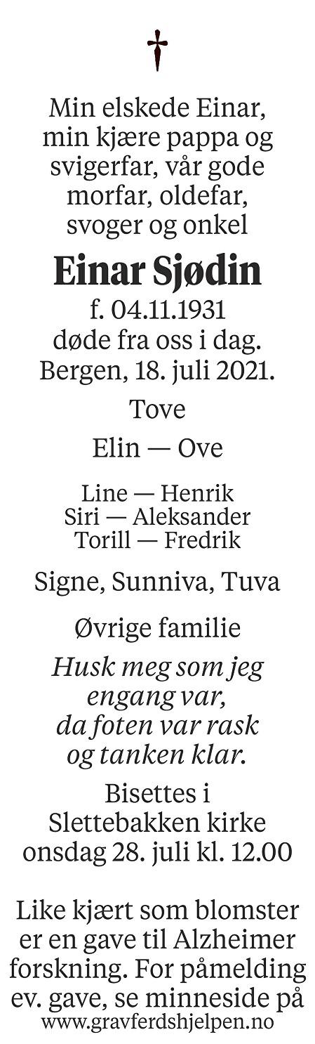 Einar Sjødin Dødsannonse