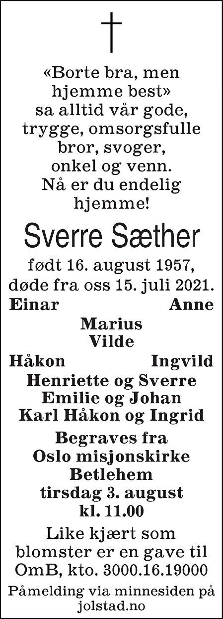 Sverre Sæther Dødsannonse