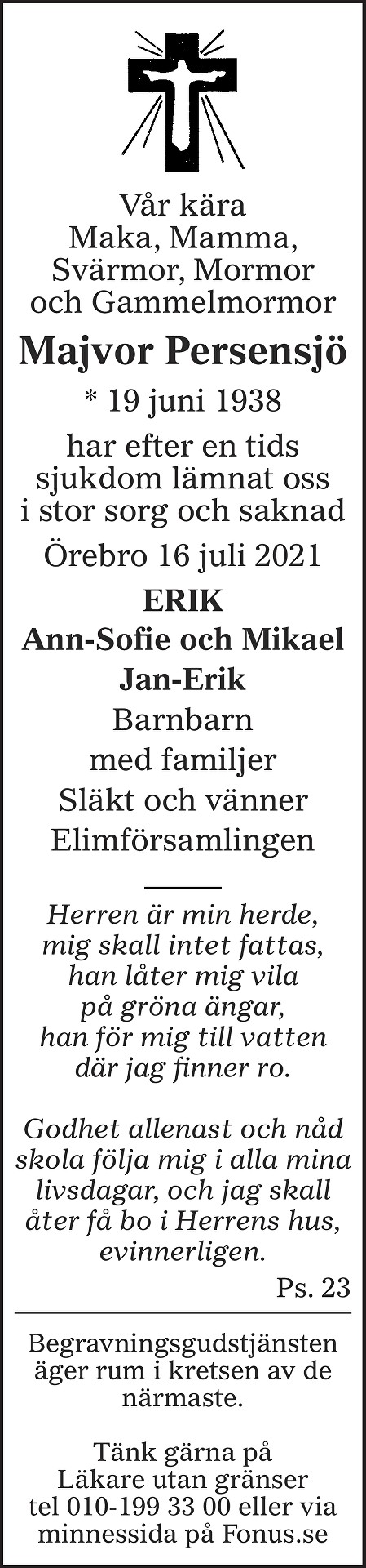 Majvor Persensjö Death notice