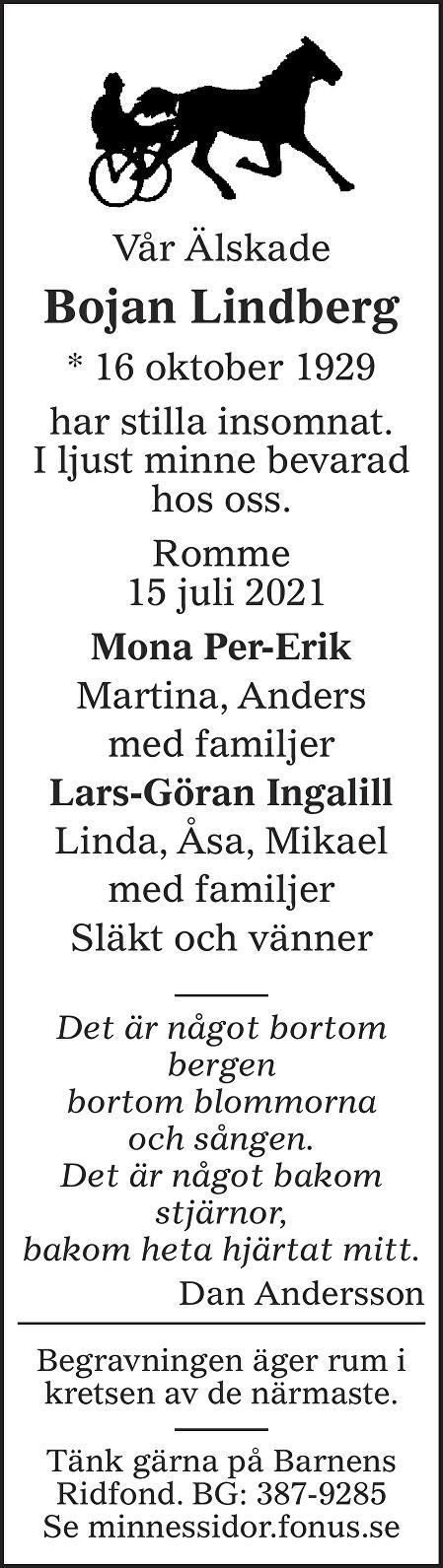 Bojan Lindberg Death notice