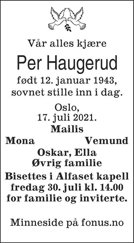 Per Haugerud Dødsannonse