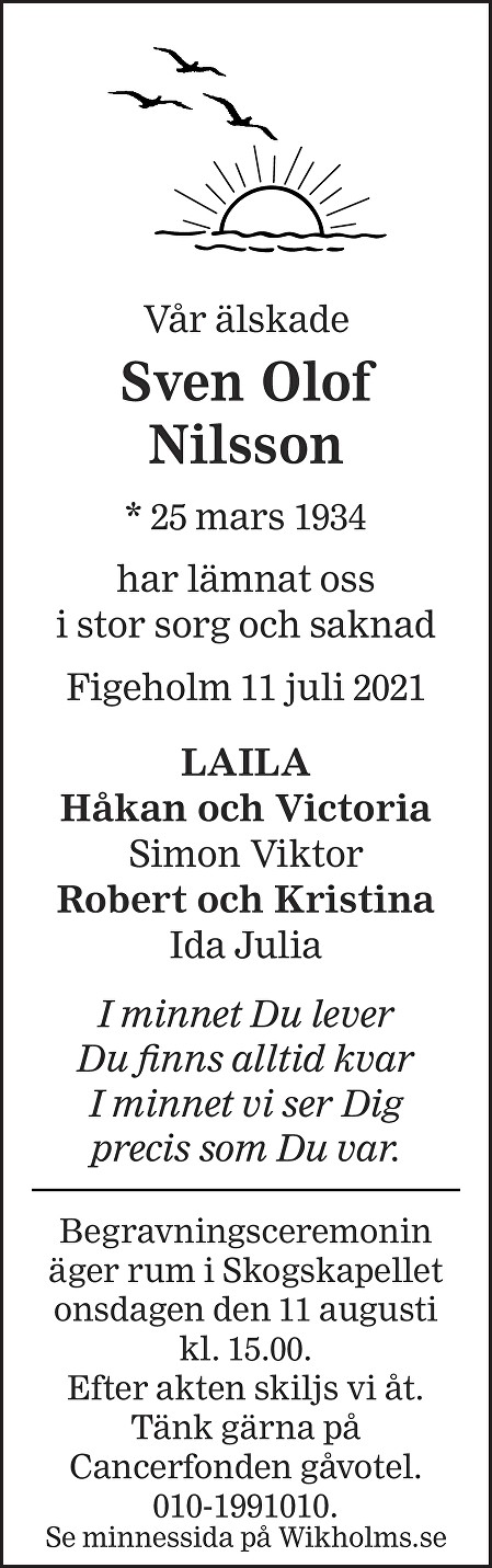 Sven Olof Nilsson Death notice