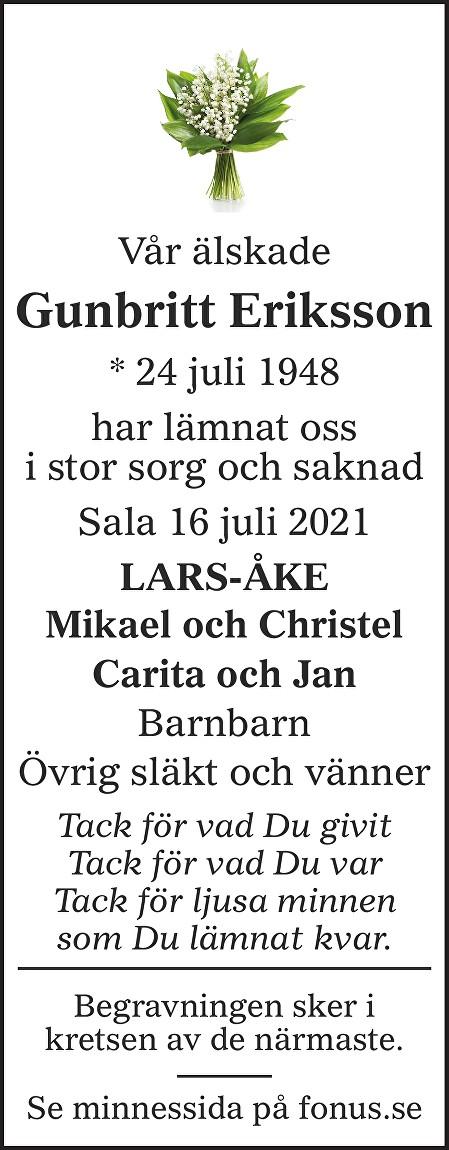 Gunbritt Eriksson Death notice