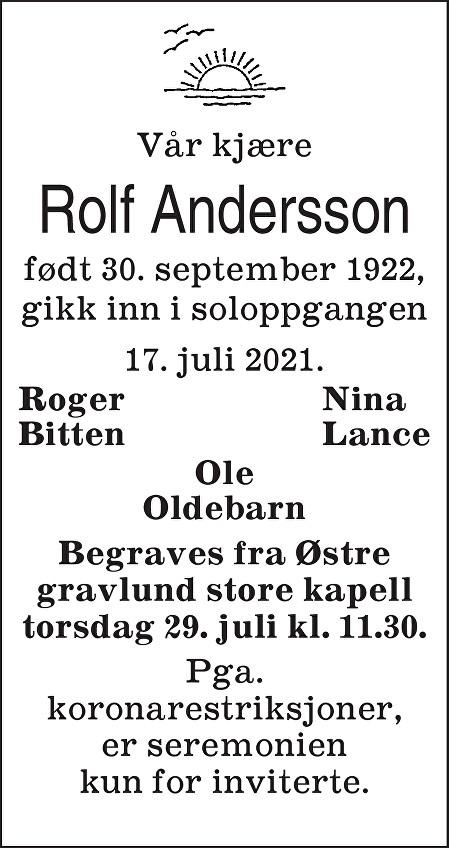 Karl Rolf Andersson Dødsannonse
