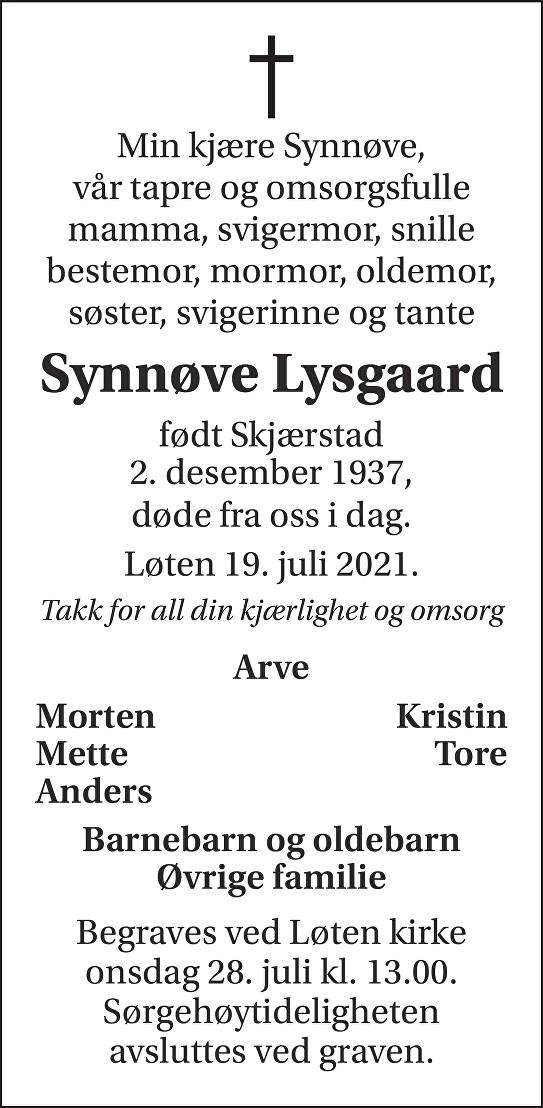 Synnøve Lysgaard Dødsannonse