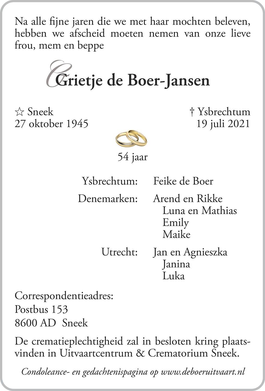 Grietje de Boer-Jansen Death notice