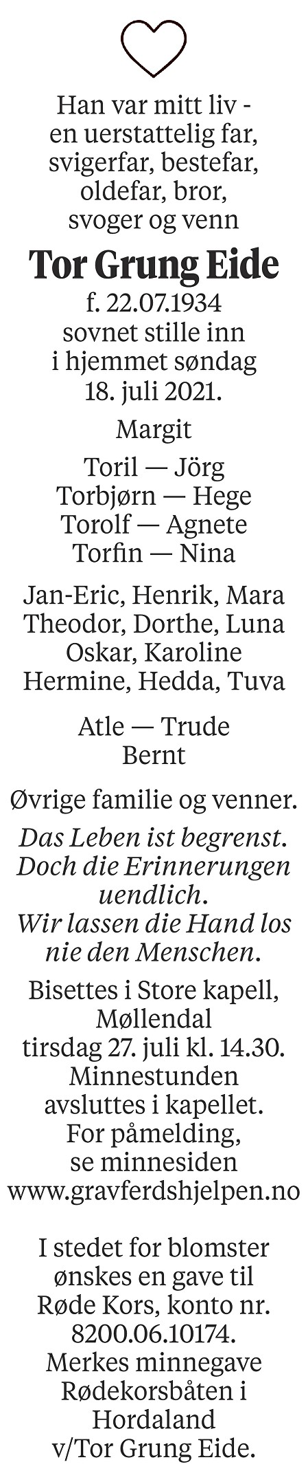 Tor Grung Eide Dødsannonse