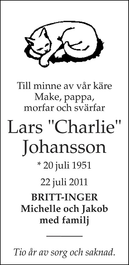 "Lars ""Charlie"" Johansson Death notice"