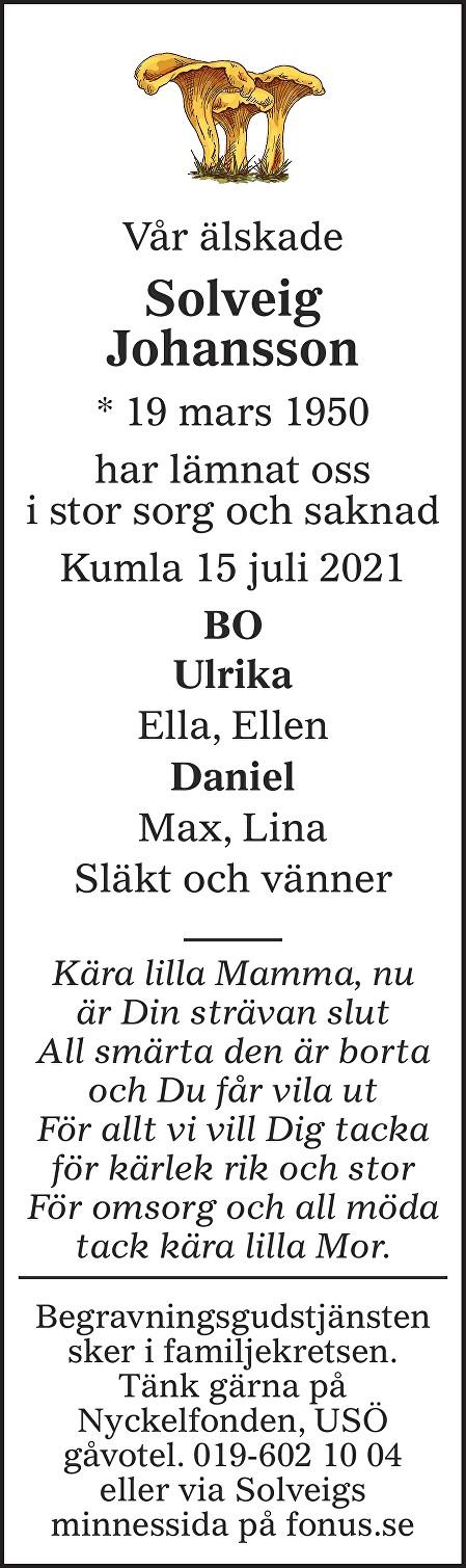 Solveig Johansson Death notice