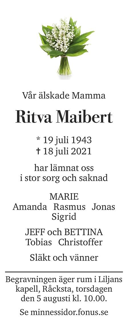 Ritva Maibert Death notice
