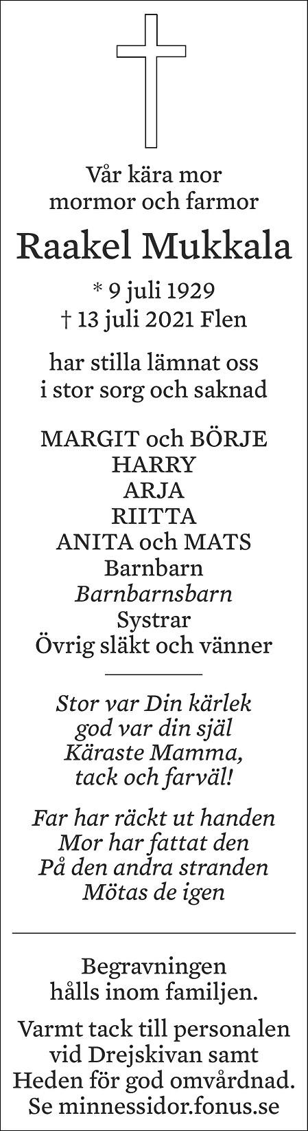 Raakel Mukkala Death notice