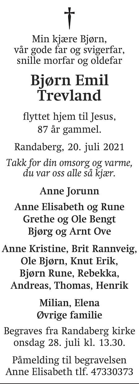 Bjørn Emil Trevland Dødsannonse