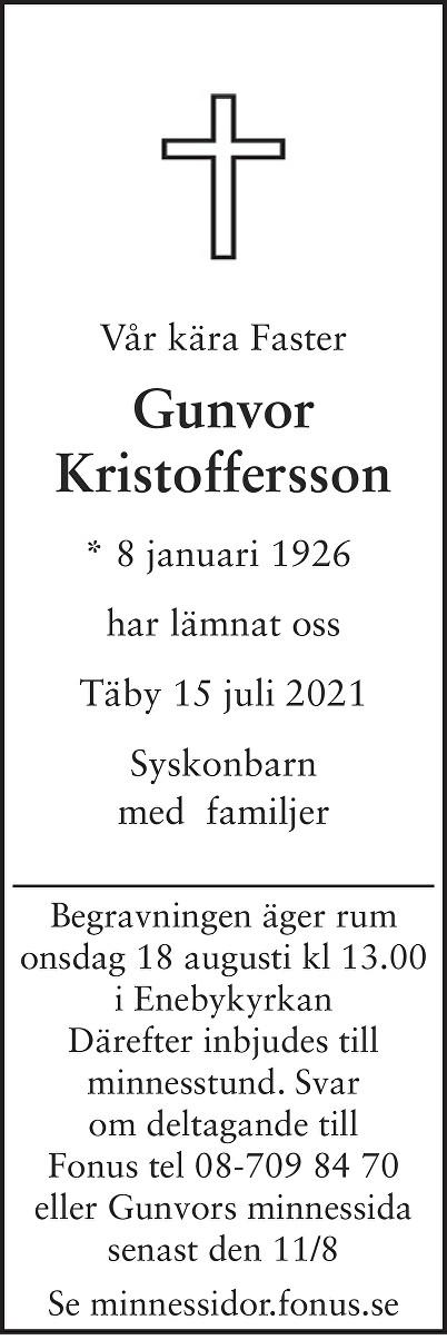 Gunvor Kristoffersson Death notice