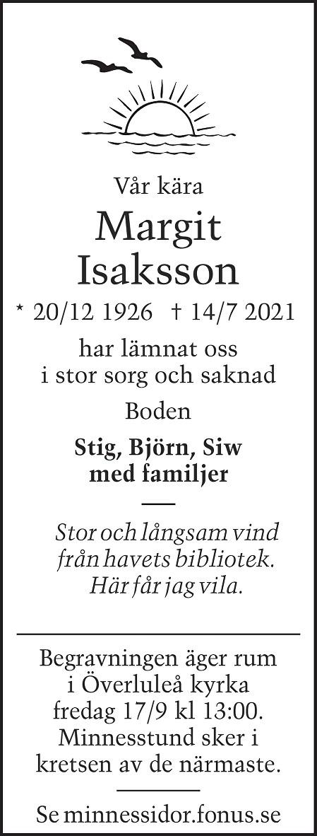 Margit Isaksson Death notice