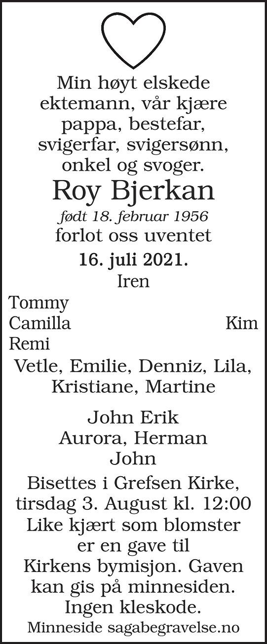 Roy Bjerkan Dødsannonse