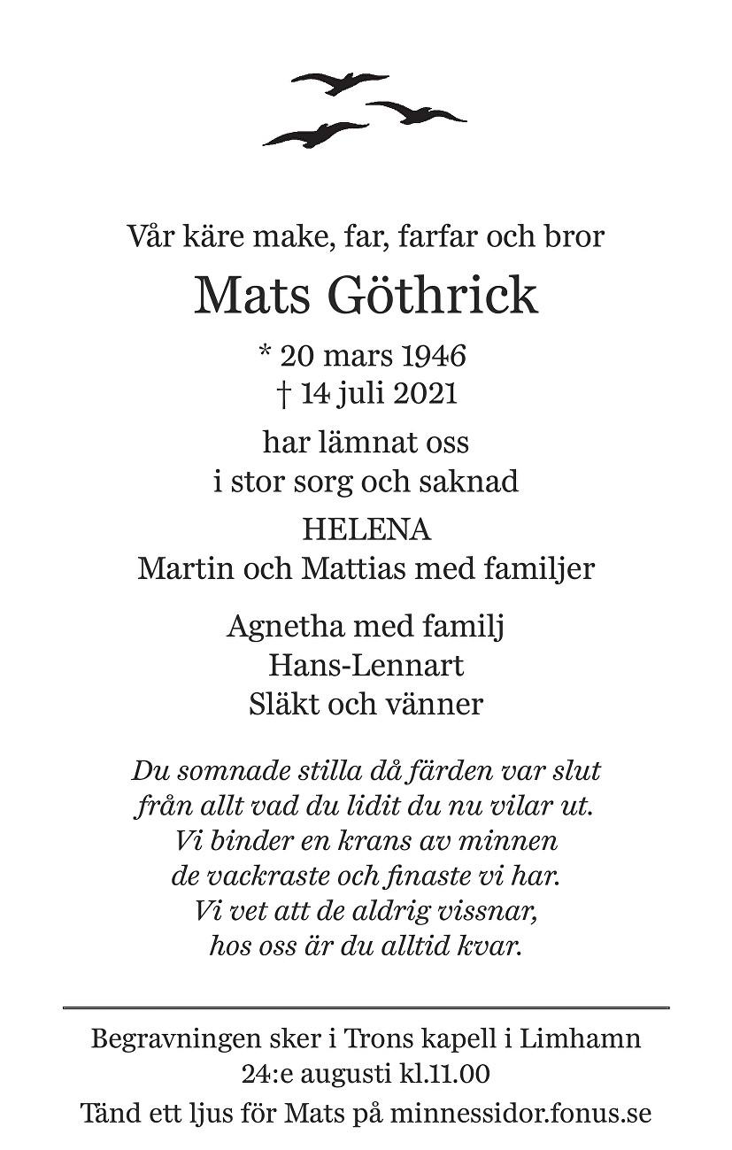 Mats Göthrick Death notice