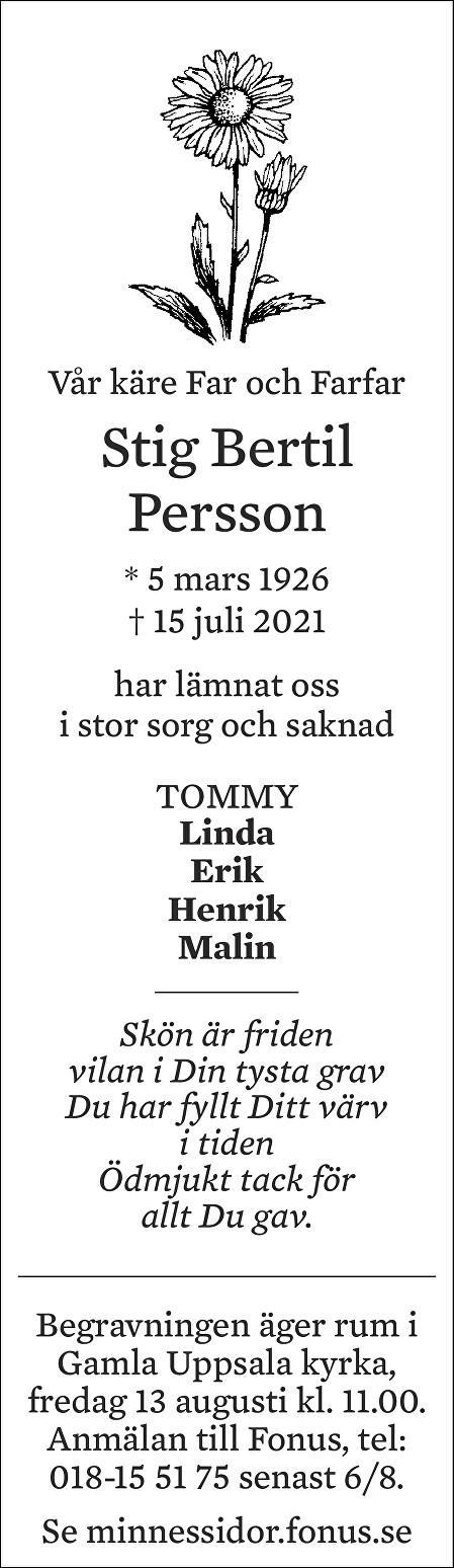 Stig Bertil Persson Death notice
