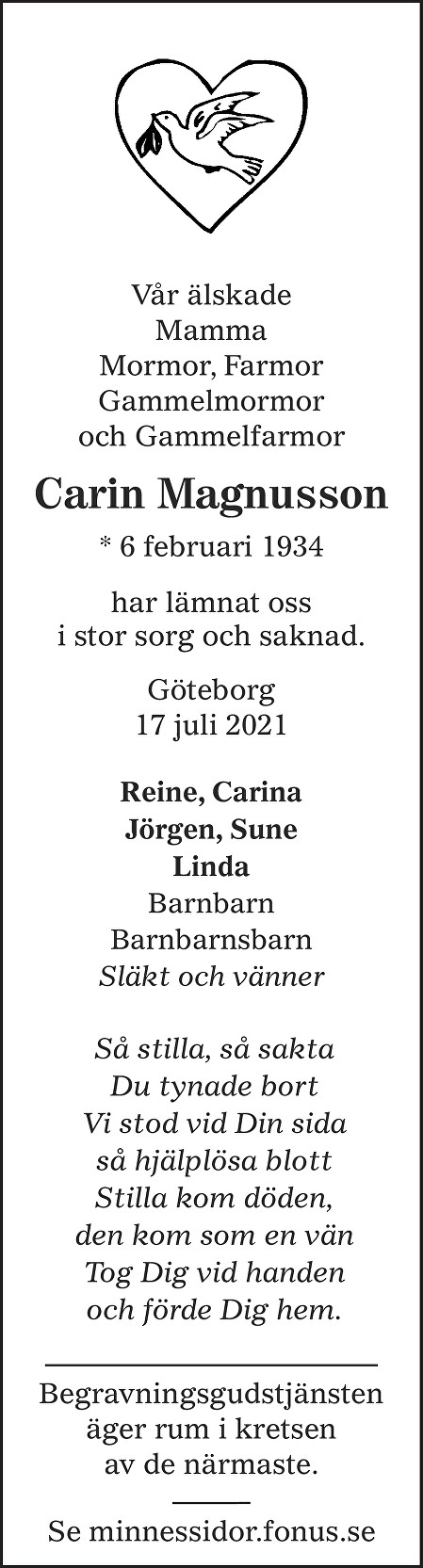 Carin Magnusson Death notice
