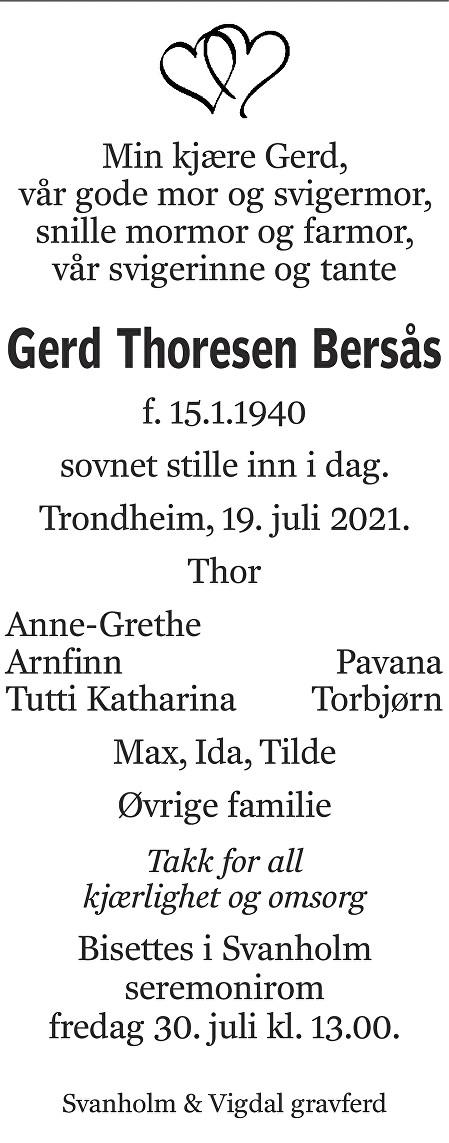 Gerd Thoresen Bersås Dødsannonse