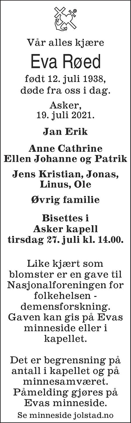 Eva Røed Dødsannonse