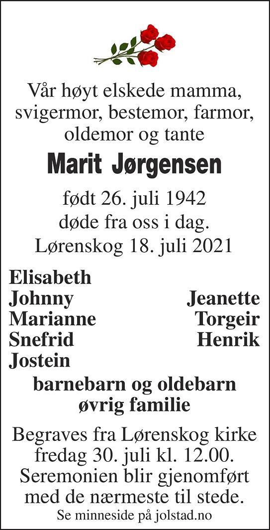 Marit Jørgensen Dødsannonse