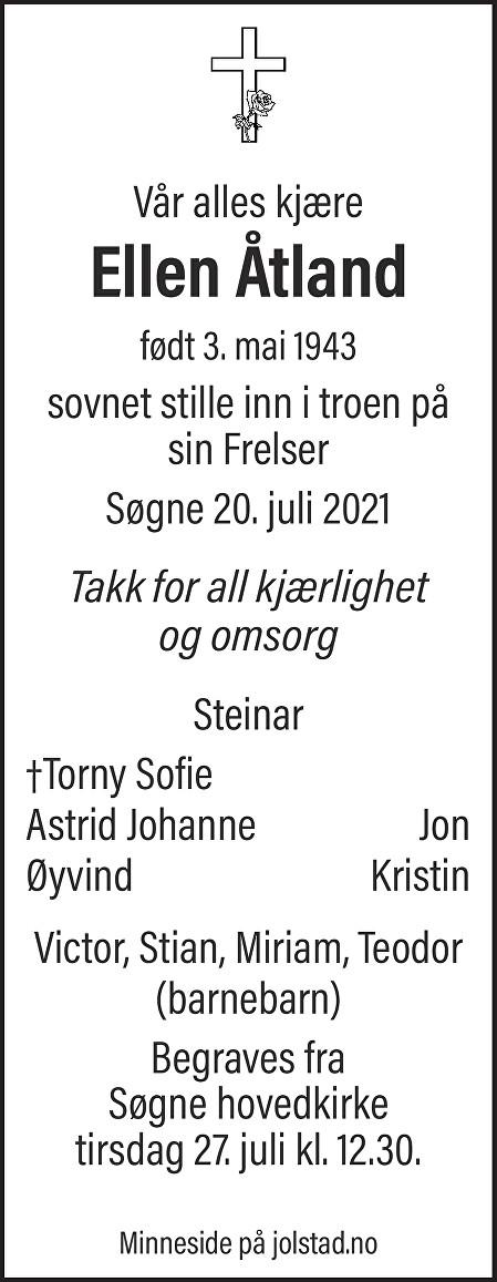 Ellen Åtland Dødsannonse