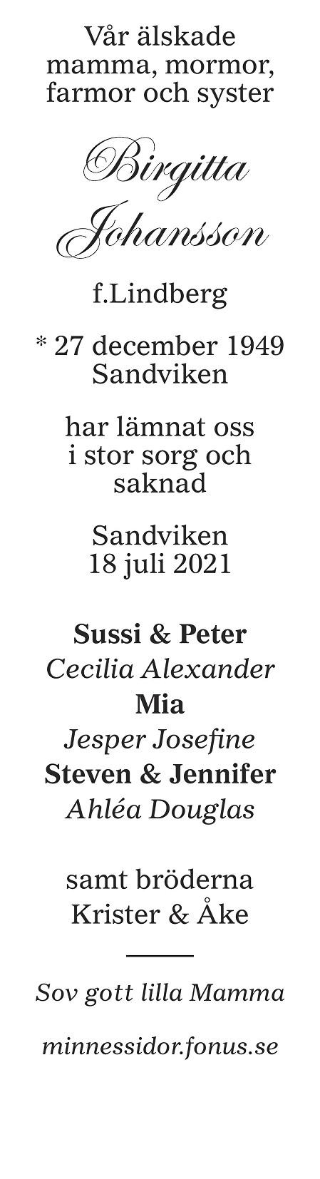Birgitta Johansson Death notice