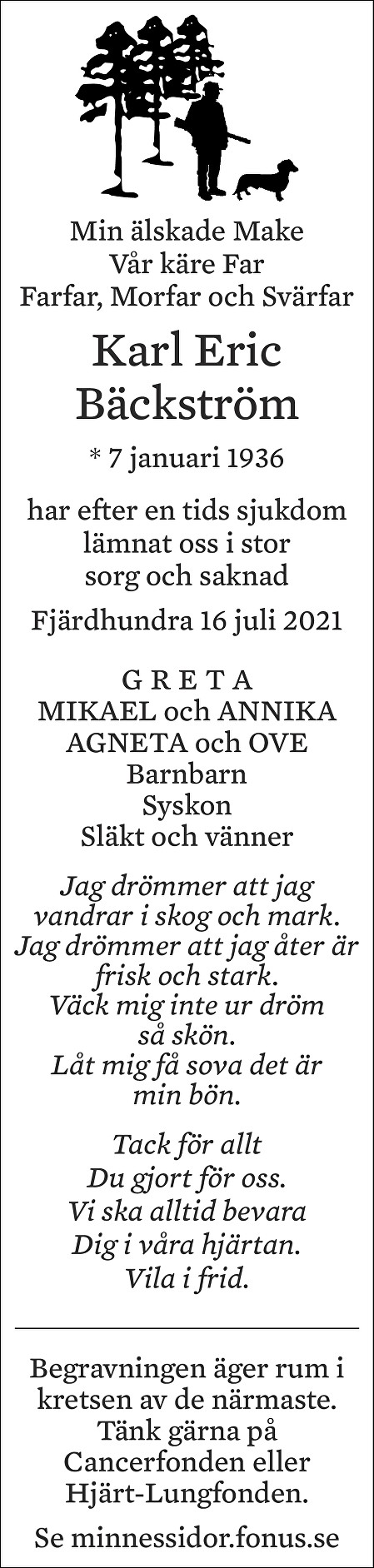 Karl Eric Bäckström Death notice