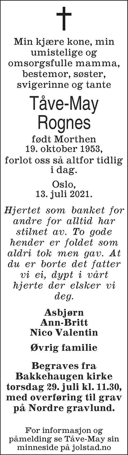 Tåve-May Rognes Dødsannonse