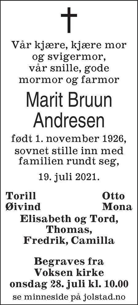 Marit Bruun Andresen Dødsannonse