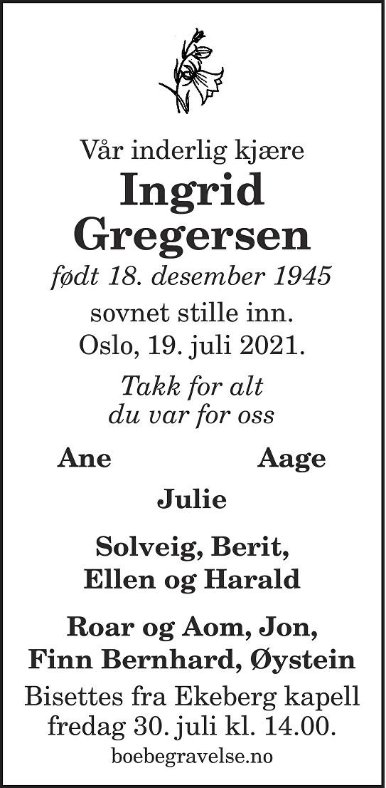 Ingrid Gregersen Dødsannonse