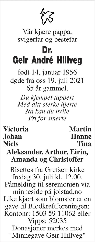 Geir André Hillveg Dødsannonse