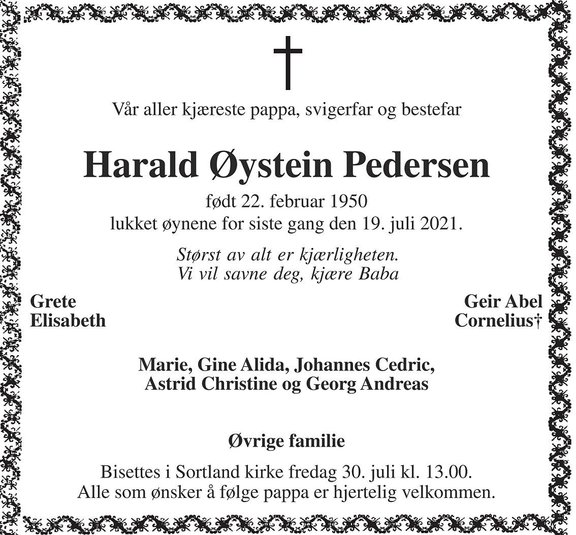 Harald Øystein Pedersen Dødsannonse