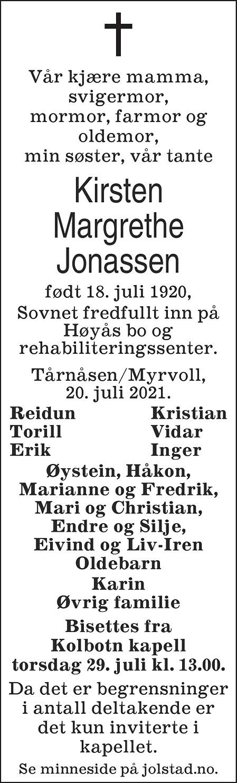 Kirsten Margrethe Jonassen Dødsannonse