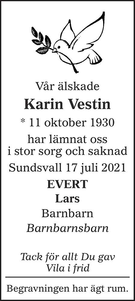 Karin Vestin Death notice