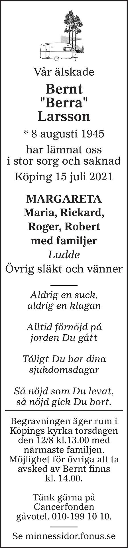 Bernt Larsson Death notice