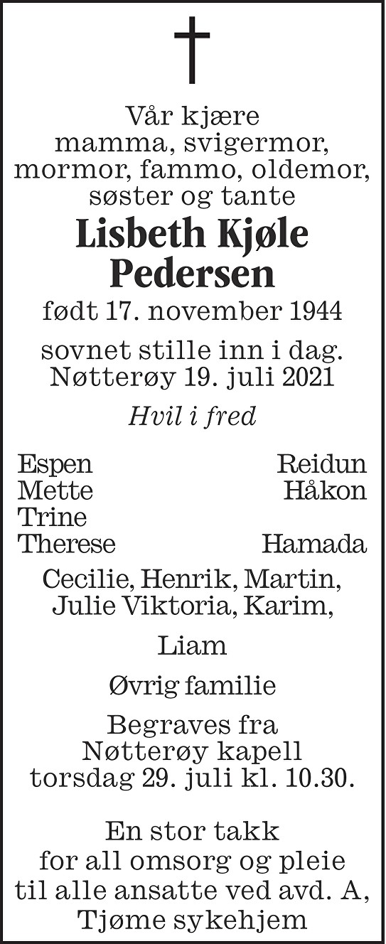 Lisbeth Kjøle Pedersen Dødsannonse