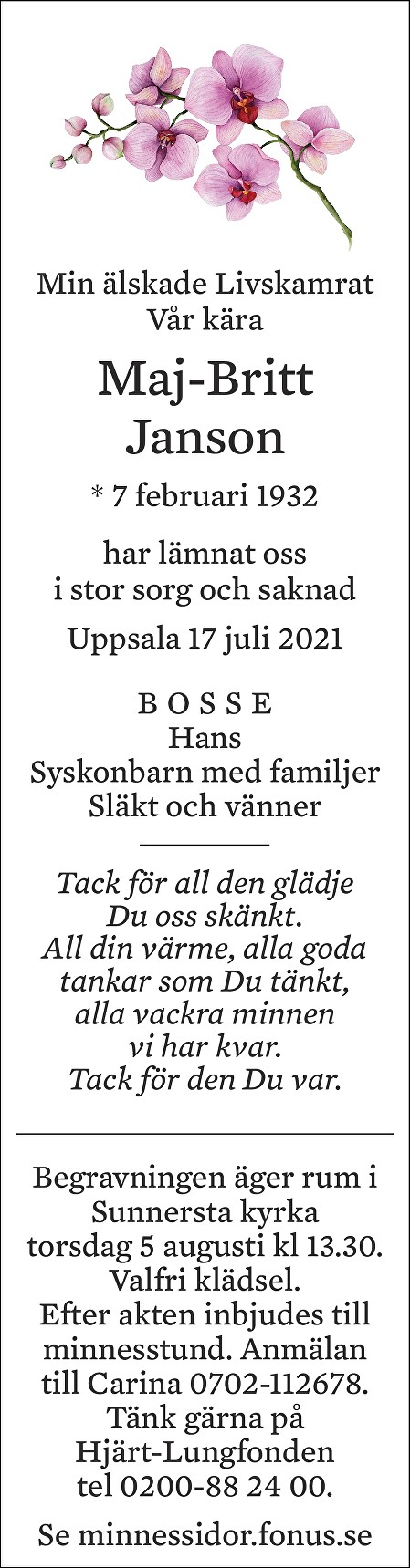 Maj-Britt Jansson Death notice