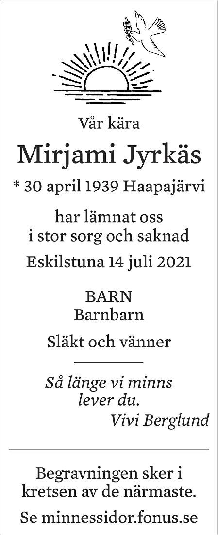 Mirjami Jyrkäs Death notice