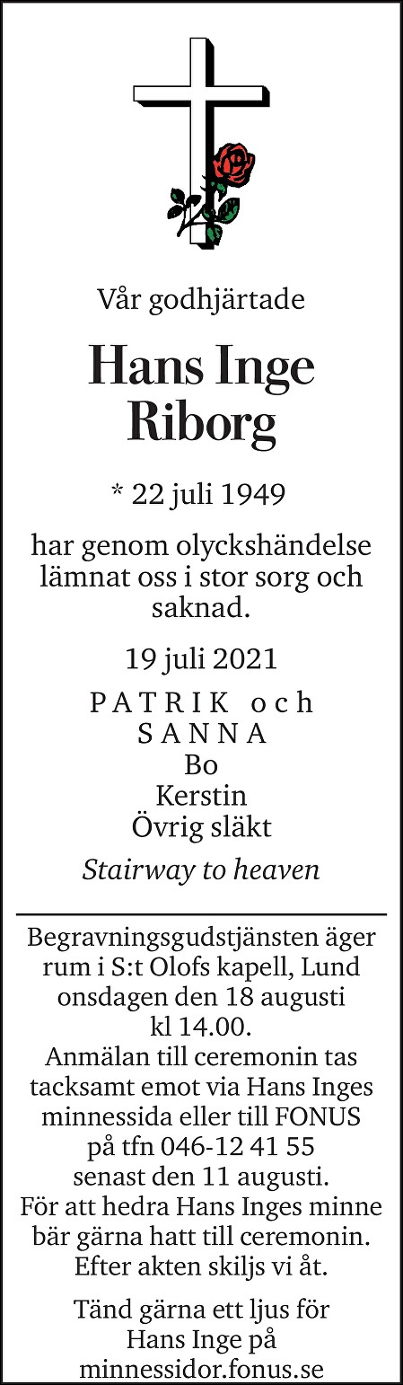 Hans Inge Riborg Death notice