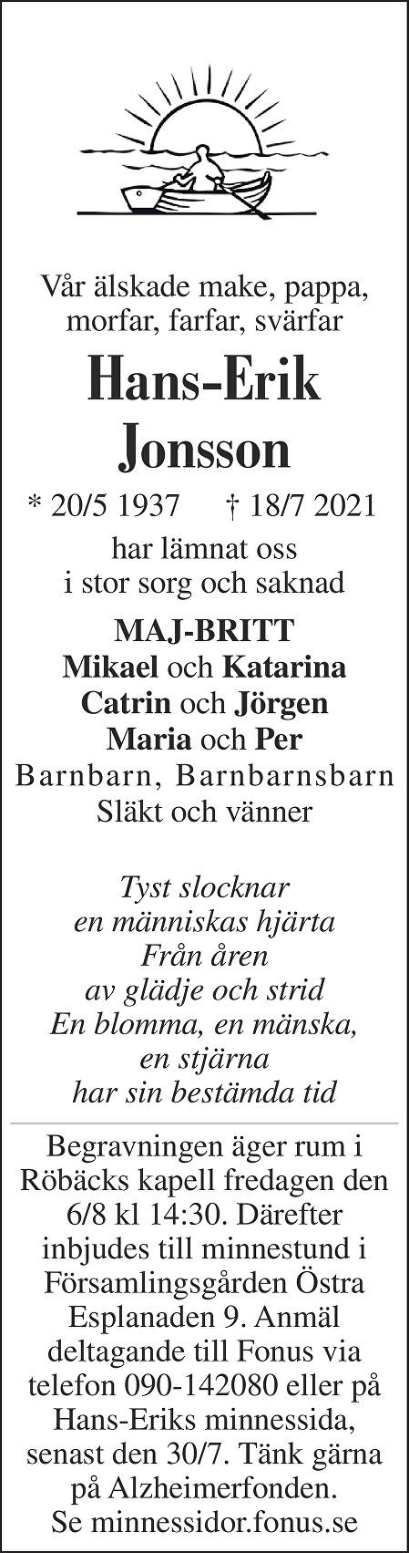 Hans-Erik Jonsson Death notice