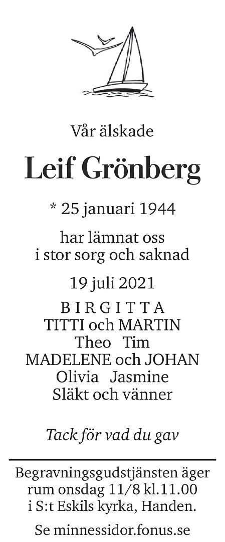 Leif Grönberg Death notice