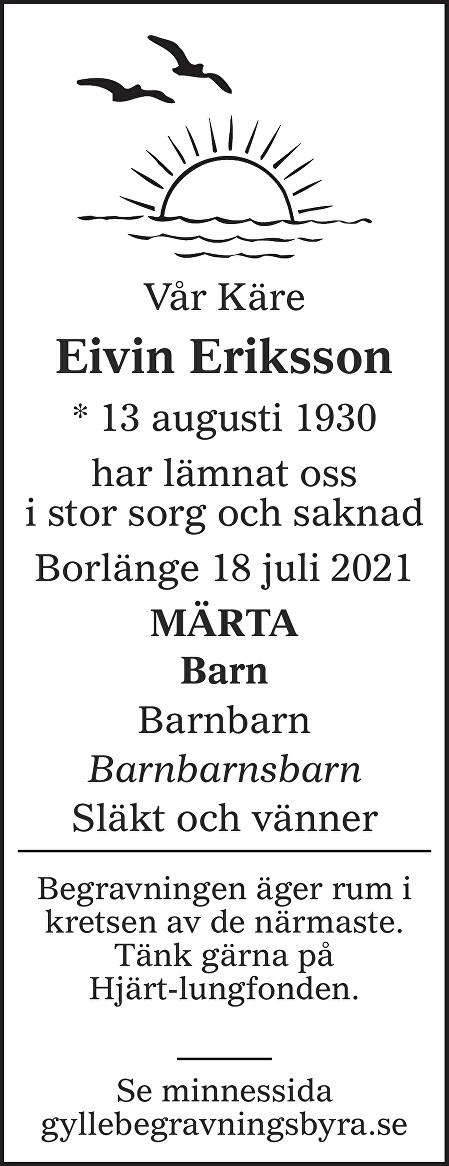 Eivin Eriksson Death notice