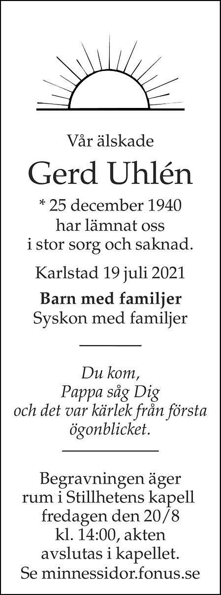 Gerd Uhlén Death notice