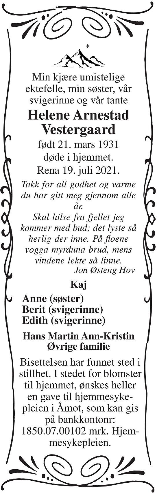 Helene Arnestad Vestergaard Dødsannonse