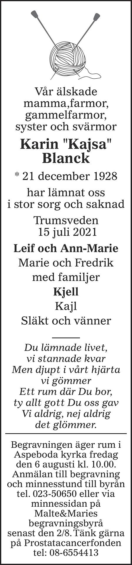 Karin Blanck Death notice