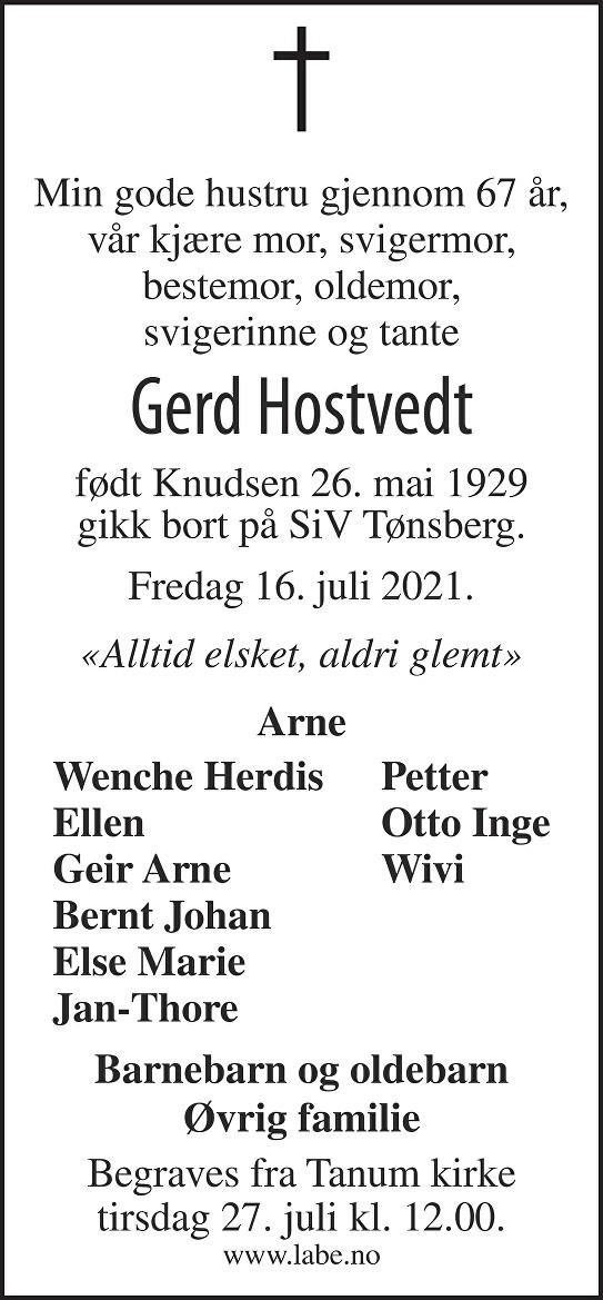 Gerd Hostvedt Dødsannonse